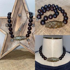 Signed KALAN wood & Gemstone Bead Necklace